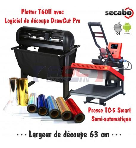 Atelier Textile Pro T60II avec presse semi automatique TC-5 Smart Bluetooth 38 x 38 cm
