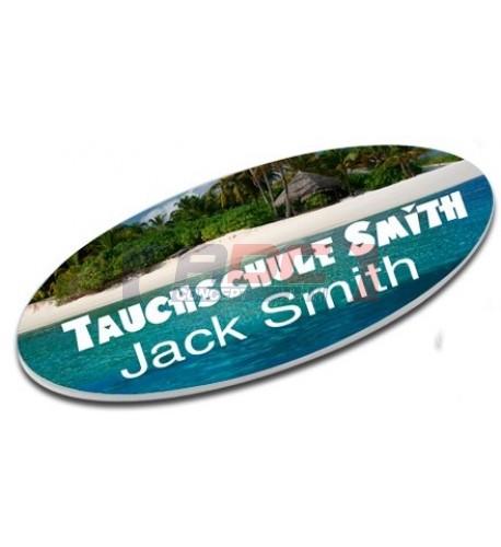 Badge plastique ovale ou rectangulaire (vendu à l'unité)