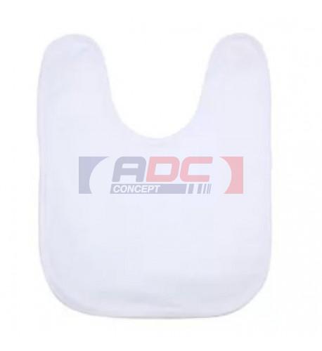 Bavoir éponge 50% coton / 50% polyester blanc bébé bordure blanche (vendu à l'unité)