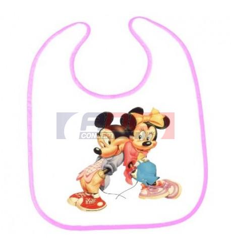 Bavoir bébé bordure rose 30 x 25 cm 100 % polyester (vendu à l'unité)