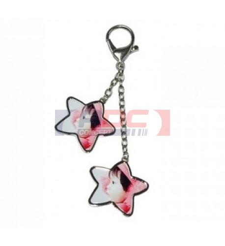 Bijou de sac 2 pendentifs étoiles avec mousqueton argenté (vendu à l'unité)