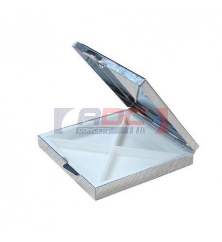Boite à pilules carré en métal argenté 65 x 60 x 10 mm (vendu à l'unité)
