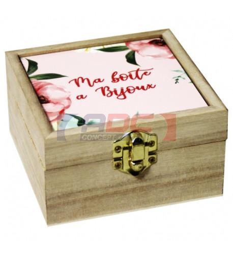 Coffret en bois 10 x 10 x 5,9 cm avec plaque HDF personnalisable (vendu à l'unité)