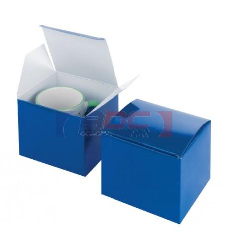 Boite cadeau bleue avec fixation pour mug 13 x 12 x 10,5 cm