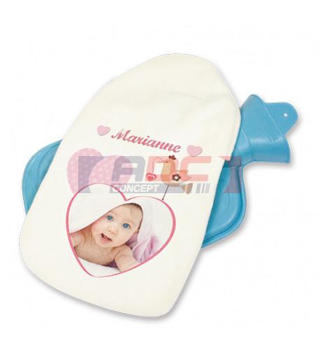 Bouillotte bleue avec pochette imprimable en sublimation (vendu à l'unité)