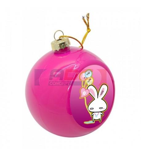 Boule de Noël Ø 8 cm coloris rose à suspendre avec plaque sublimable