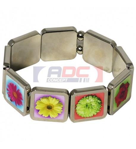 Bracelet métal brillant 9 carrés pour poignet personnalisable en sublimation