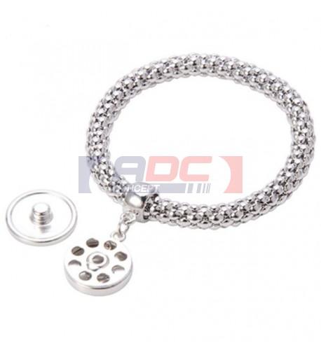 Bracelet métallique argenté avec pendentif rond Ø 18 mm (vendu à l'unité)