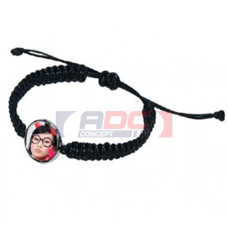 Bracelet en corde noire avec plaque aluminium Ø 18 mm