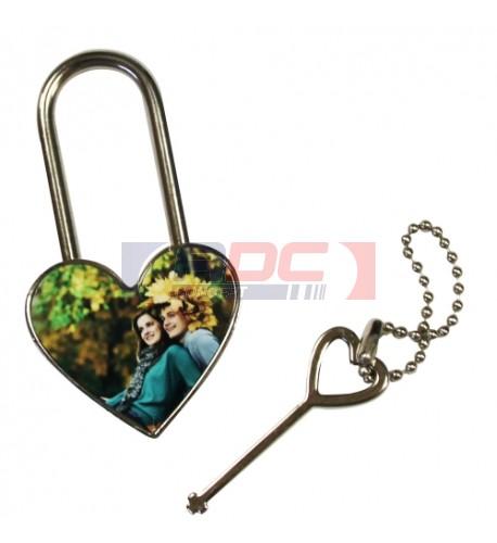 Cadenas coeur avec plaque aluminium sublimable (vendu à l'unité)