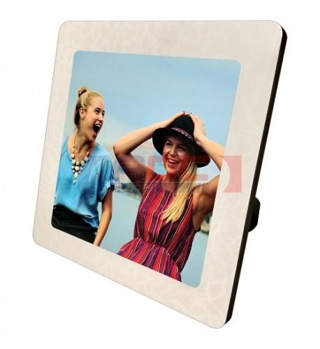 Cadre photo en MDF forme carré 25 x 25 cm légèrement bombé effet cristal