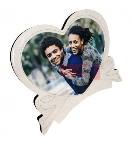Cadre photo en MDF forme coeur 25 x 30 cm légèrement bombé effet cristal