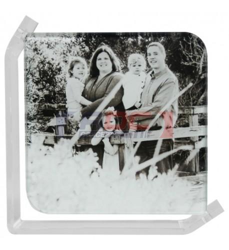 Cadre photo en verre lisse support transparent 10 x 10 cm