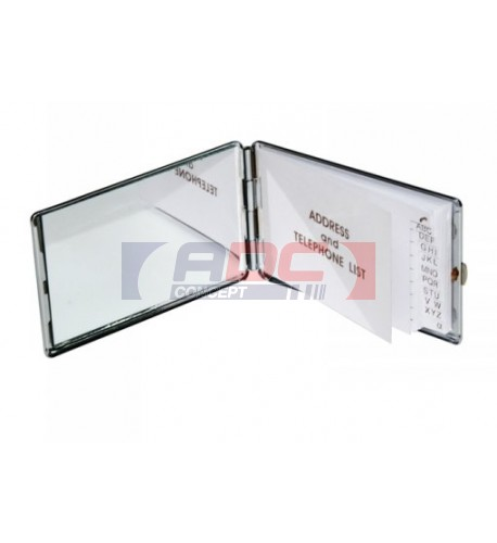 Carnet d'adresses en métal argenté rectangulaire avec miroir
