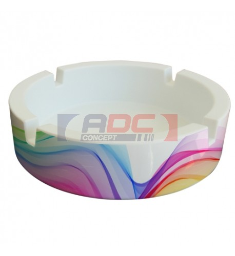 Cendrier en polymère incassable sublimable Ø 11,4 cm (vendu à l'unité)
