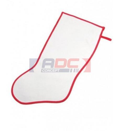 Chaussette de Noël blanche bordure rouge pour décoration