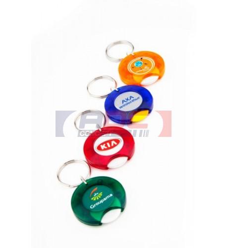 """Lot de 100 porte-clés acryliques Jeton de caddie 1 € """"CR-25"""" - 8 couleurs dont 2 fluo"""
