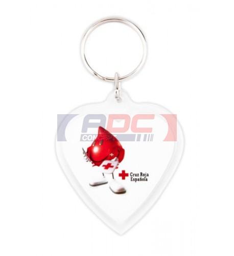 Lot de 100 porte-clés acryliques CR-COR coeur - Marquage 2 faces