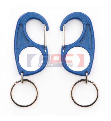 """Lot de 100 porte-clés acryliques mousqueton """"CR-MD"""" - 3 couleurs"""