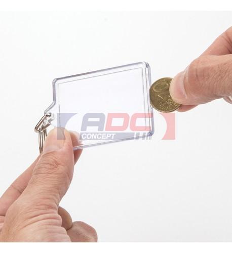 """Lot de 100 porte-clés acryliques """"CR-OP Réutilisable"""" Rectangulaire - Marquage 2 faces"""