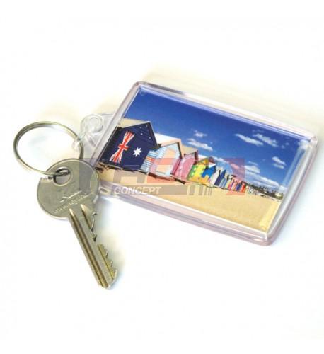 """Lot de 100 porte-clés acryliques """"CR-45"""" Rectangulaire - Marquage 2 faces"""