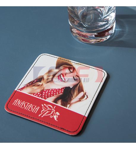 Dessous de verre en cuir synthétique imprimable sublimation (vendu à l'unité)