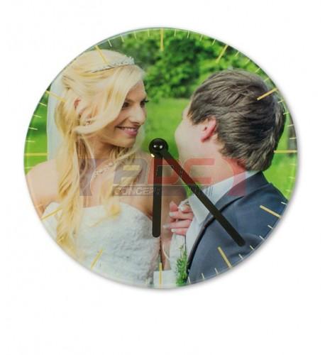Horloge ronde murale en verre lisse Ø 29 cm (vendu à l'unité)
