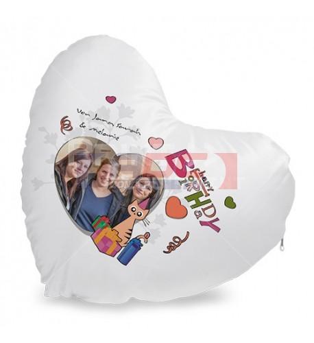 Housse de coussin coeur blanche satinée 40 x 44 cm (vendu à l'unité)