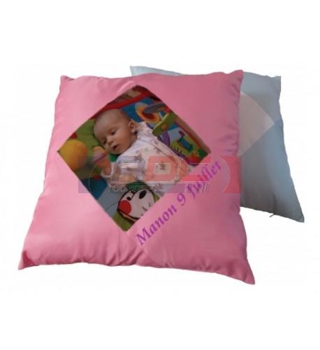 Housse de coussin en satin rose 43 x 43 cm avec carré intérieur sublimable