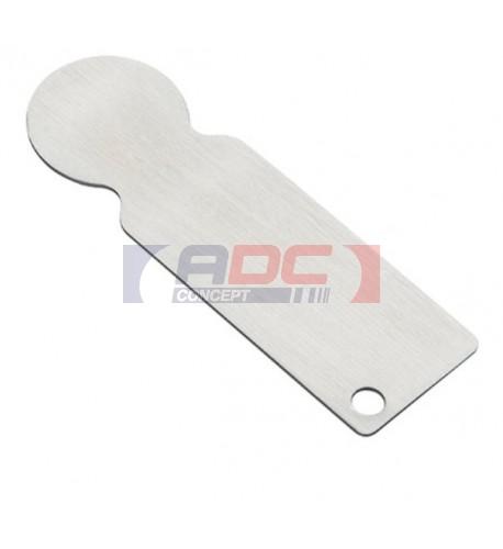 Porte-clé jeton de caddie en métal argenté 2,3 x 7,4 cm (vendu à l'unité)