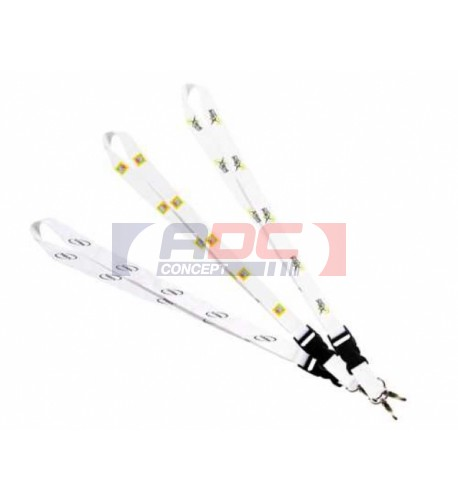 Lanière tour de cou blanc 48 x 2 cm avec clip plastique noir (vendu à l'unité)