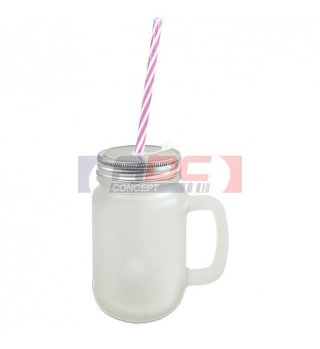 Tasse Mason Jar en verre extérieur satiné avec anse, couvercle et paille
