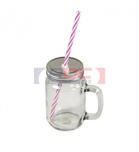 Tasse Mason Jar en verre extérieur clair avec anse, couvercle et paille