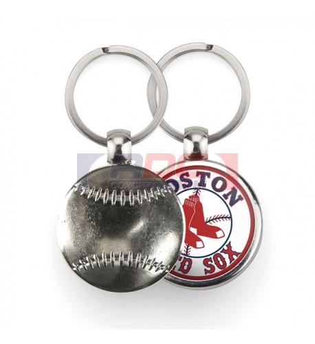 """Lot de 100 porte-clés métalliques Ø 30 mm """"MBB"""" Baseball"""