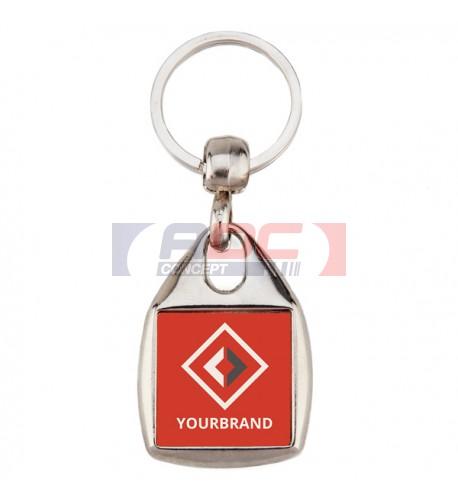 """Lot de 100 porte-clés métalliques """"MF-25"""" carré 1 face"""