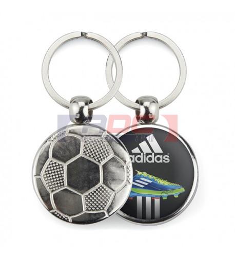 """Lot de 100 porte-clés métalliques Ø 30 mm """"MFT"""" Football"""