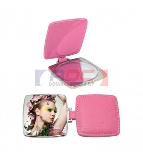 Miroir de poche carré rose personnalisable en sublimation (vendu à l'unité)
