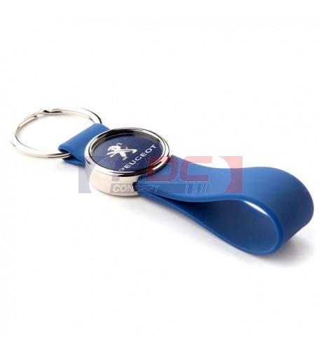 Lot de 100 porte-clés lanière silicone couleur bleu MR25-SZ avec marquage rond