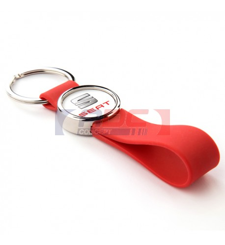 Lot de 100 porte-clés lanière silicone couleur rouge MR25-SR avec marquage rond