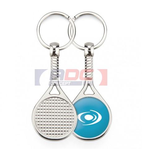 """Lot de 100 porte-clés métalliques Ø 25 mm """"MTN"""" Raquette de Tennis"""