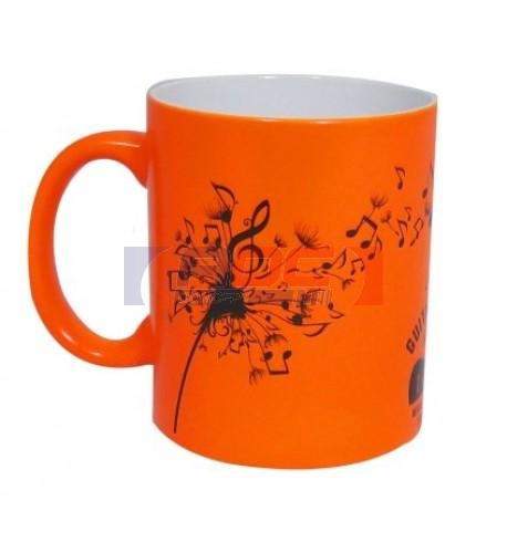 Mug céramique traité 100% polyester couleur orange fluo