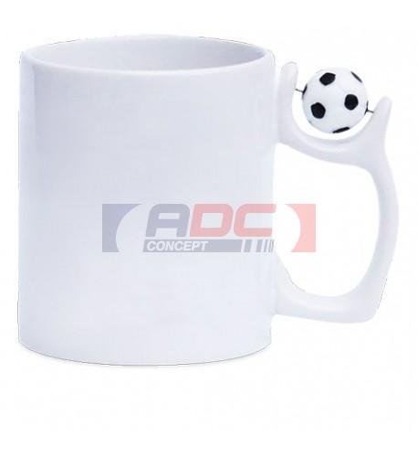Mug en céramique blanche avec anse ballon de football