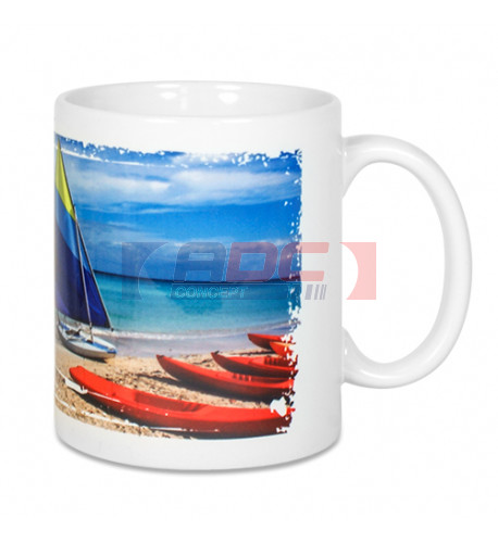 Mug blanc Lena-ST H 9,5 cm Ø 8,2 cm avec revêtement Sublistar® AAA-coating