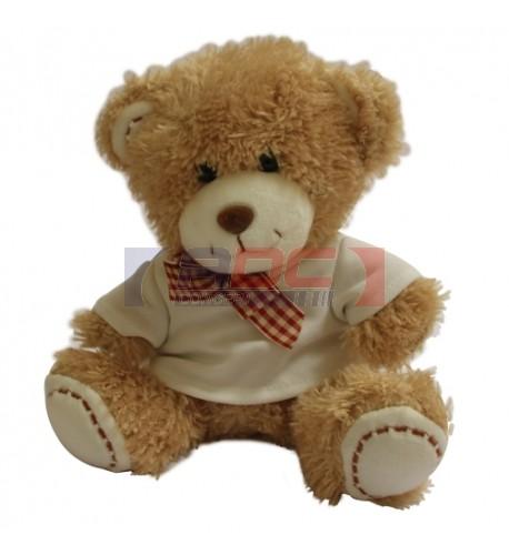 Peluche ours brun H 19 cm avec mini tee-shirt (vendu à l'unité)