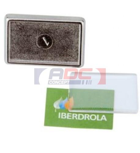 "Lot de 100 pin's rectangles argentés métalliques ""P-15"" 24 x 18 mm"