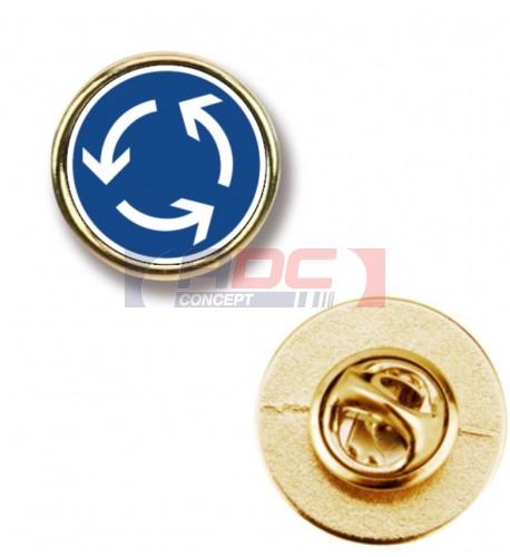 """Lot de 100 pin's ronds dorés métalliques """"P-18"""" Ø 20 mm"""