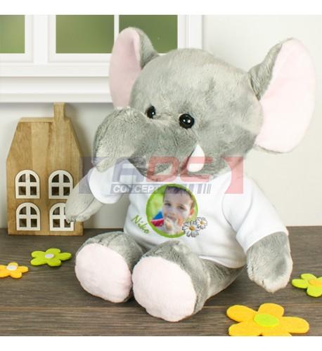 Peluche éléphant Jumbo H 21 cm avec mini tee-shirt (vendu à l'unité)