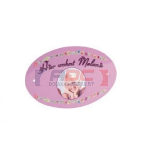 Plaque de porte ovale en plastique polymère blanc (vendu à l'unité)