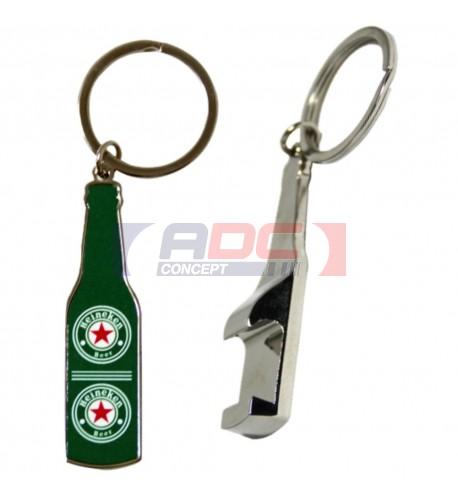 Porte-clé décapsuleur forme bouteille en métal avec plaque sublimable (vendu à l'unité)