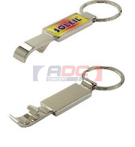 Porte-clé décapsuleur en métal chromé avec marquage doming